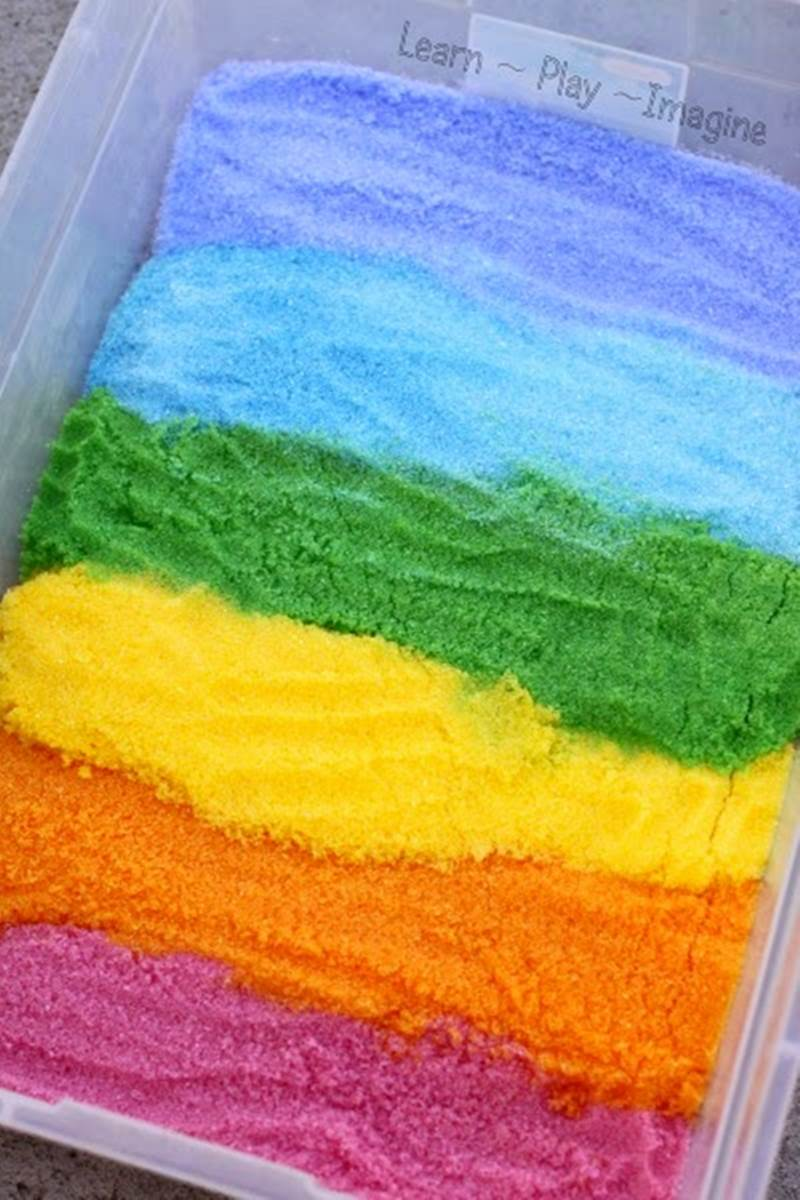 Epsom Salts rainbow sensory sand