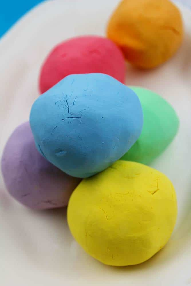 rainbow homemade playdough without cream of tartar