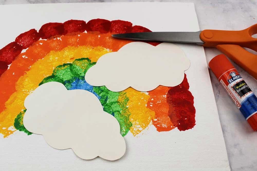 rainbow crafts for kids using cotton balls