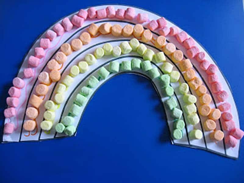 marshmallow rainbow craft