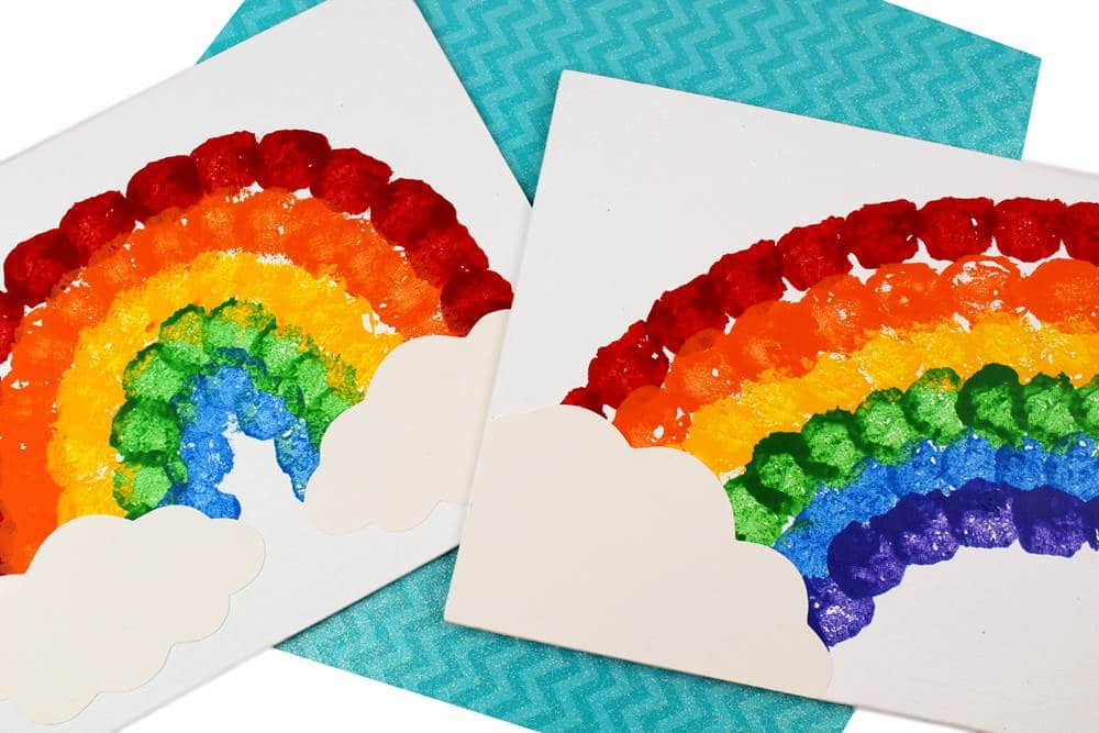 Rainbow cotton ball craft for presschoolers