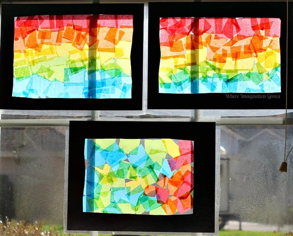 stained glass craft rainbow