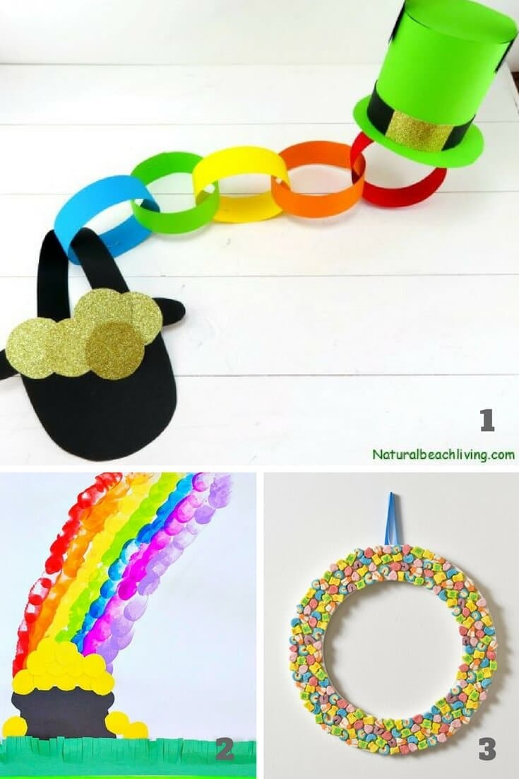 St. Patrick's day activities for preschoolers including rainbow and pot of gold crafts