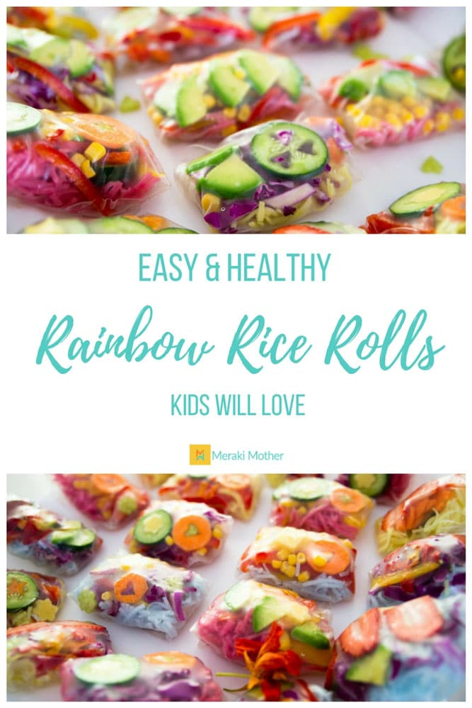 Easy and Healthy Rainbow Rice Rolls kids will love