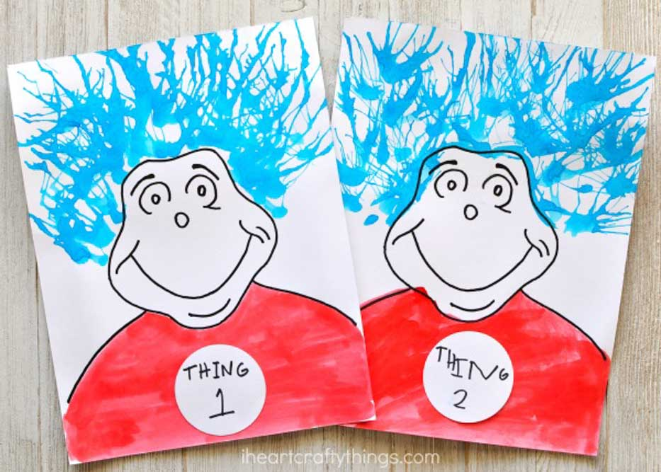 Meraki-Mother-easy dr seuss crafts for kids, cat in the hat thing 1 and thing 2