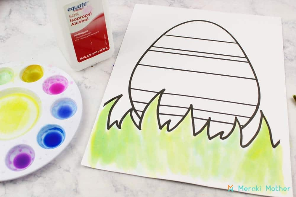 easter kids craft using markers and rubbing alcohol