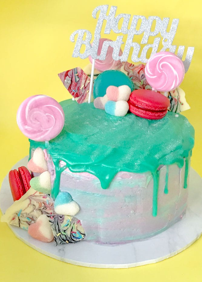 Bright and colourful drip cake