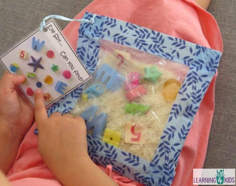 Eye spy sensory bag learning activity