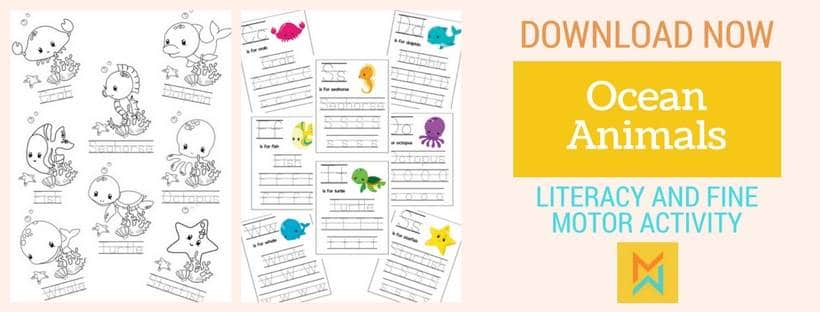 Ocean animals fine motor and literacy activity