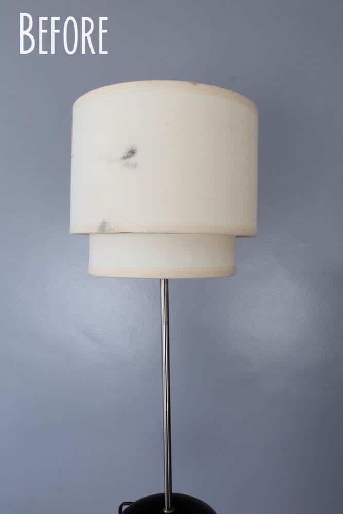 Old fashioned lamp shade before recovering