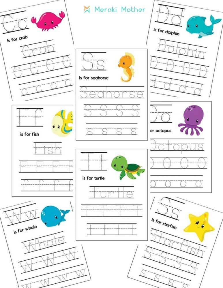 Sea animals letters activity