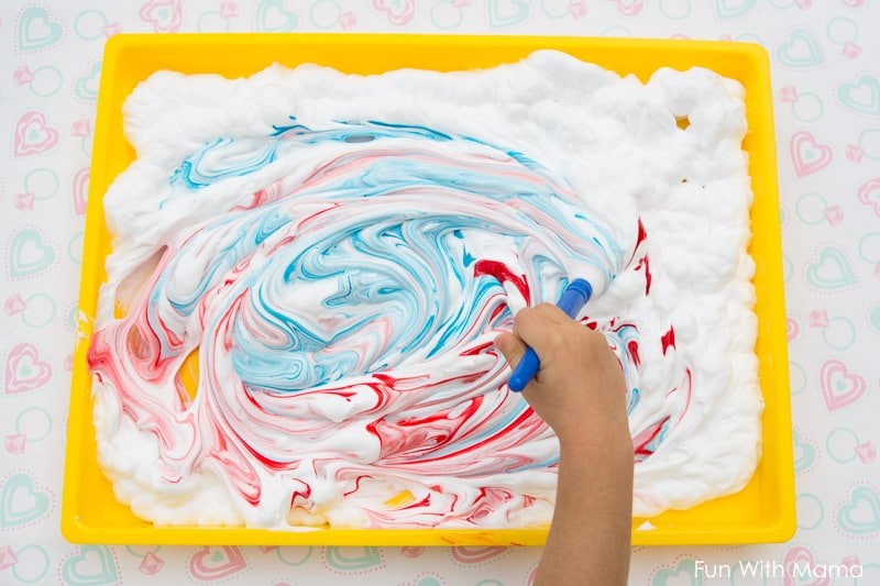 Shaving cream sensory painting