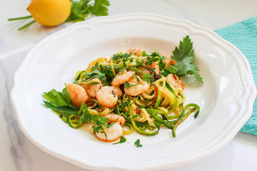 quick keto meal garlic shrimp zucchini noodles