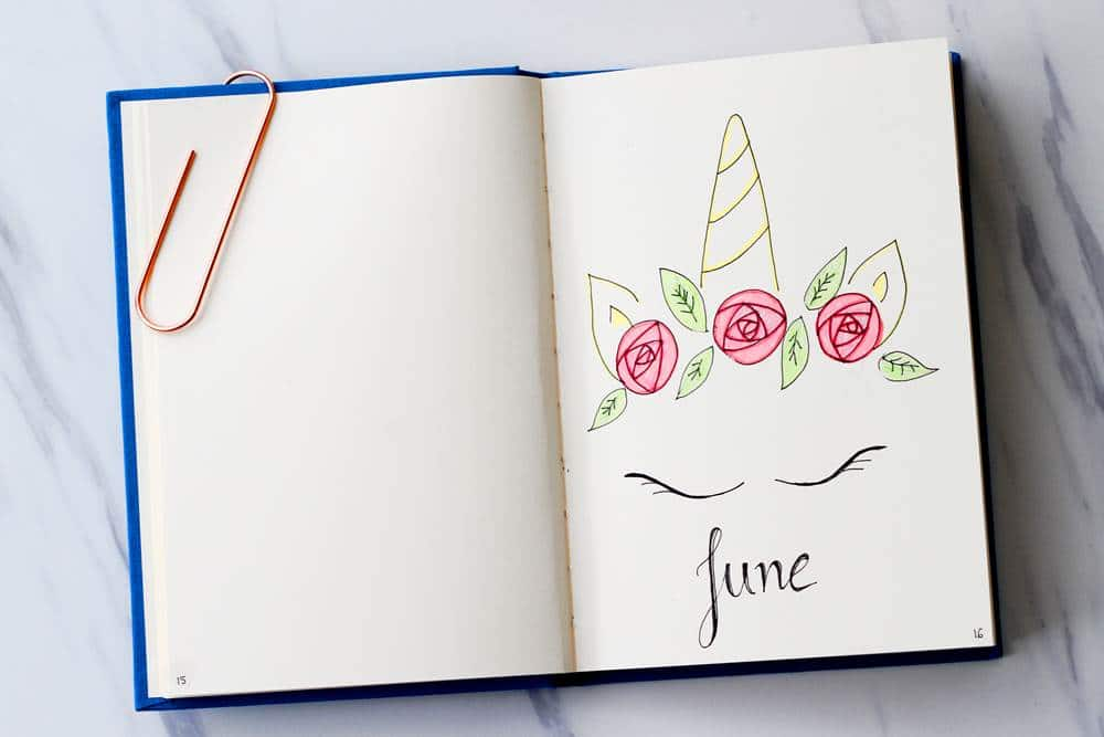 June Unicorn Bullet Journal Theme