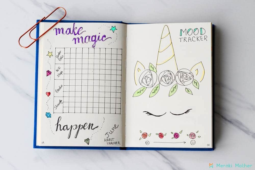 bullet journal habit and mood tracker