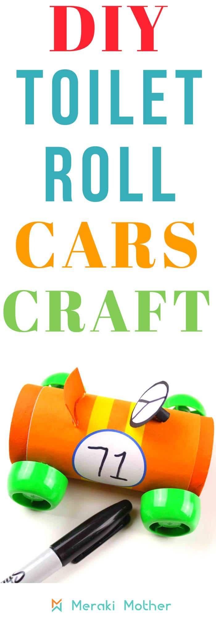 DIY toilet roll cars craft