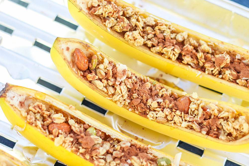 granola and banana boats camping desserts