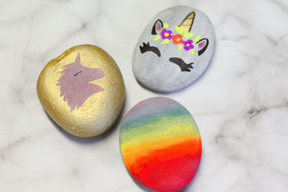 unicorn inspired easy painted rocks