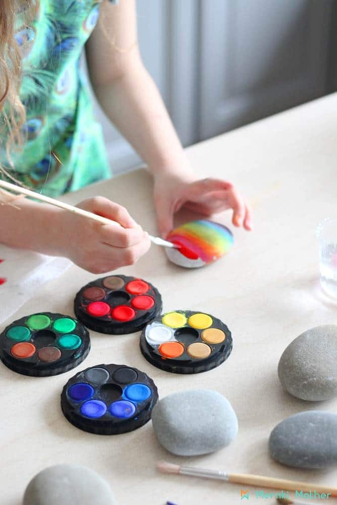Rock painting activity with watercolor