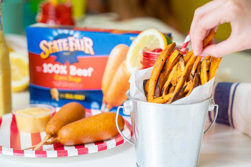 Easy Back to School Meal with State Fair® Corn Dogs and Homemade Sweet Potato Fries