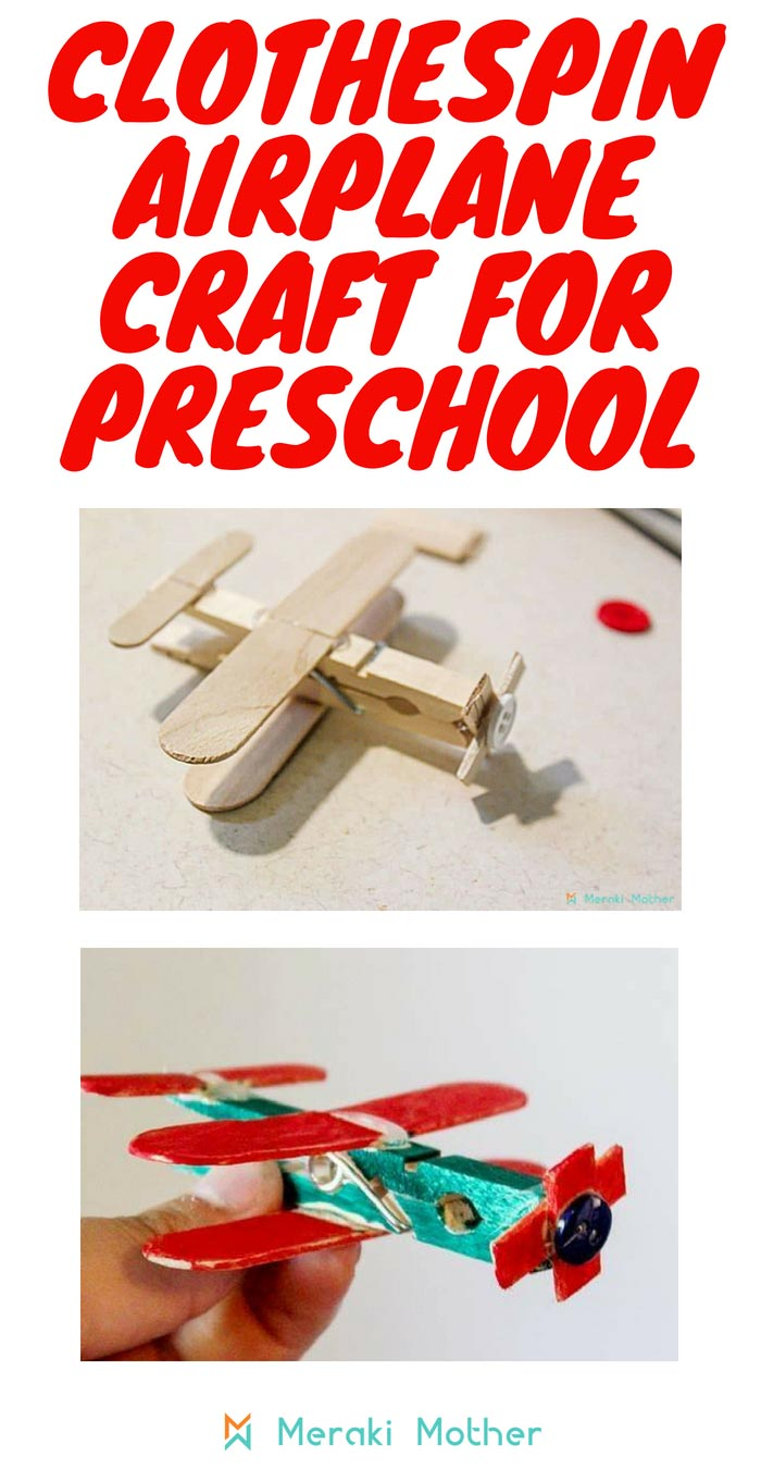 Clothespin airplane craft for preschool