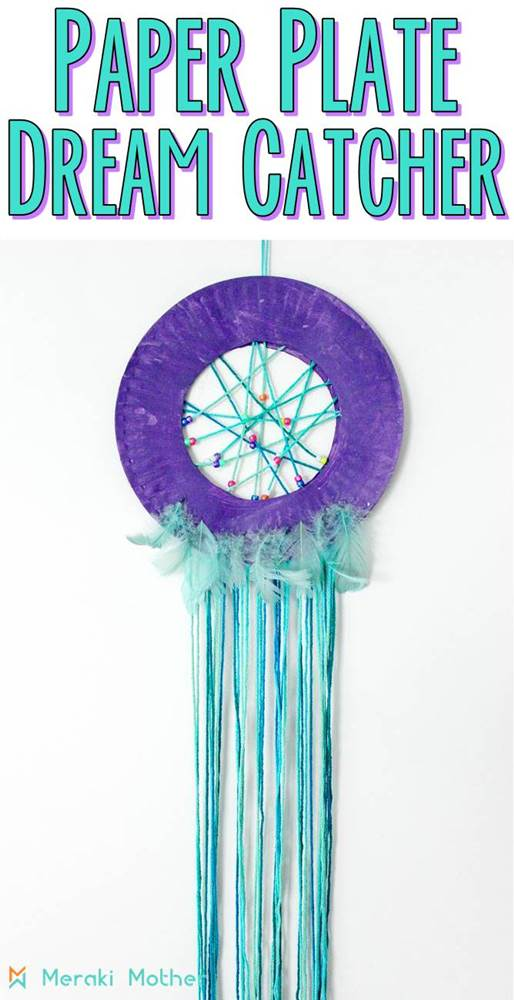 paper plate dream catcher for kids