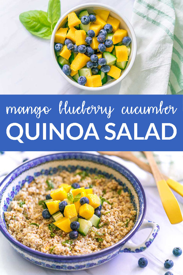Zesty Quinoa Salad with Mango Blueberries Cucumbers