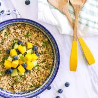 Zesty quinoa salad with mangos and blueberries