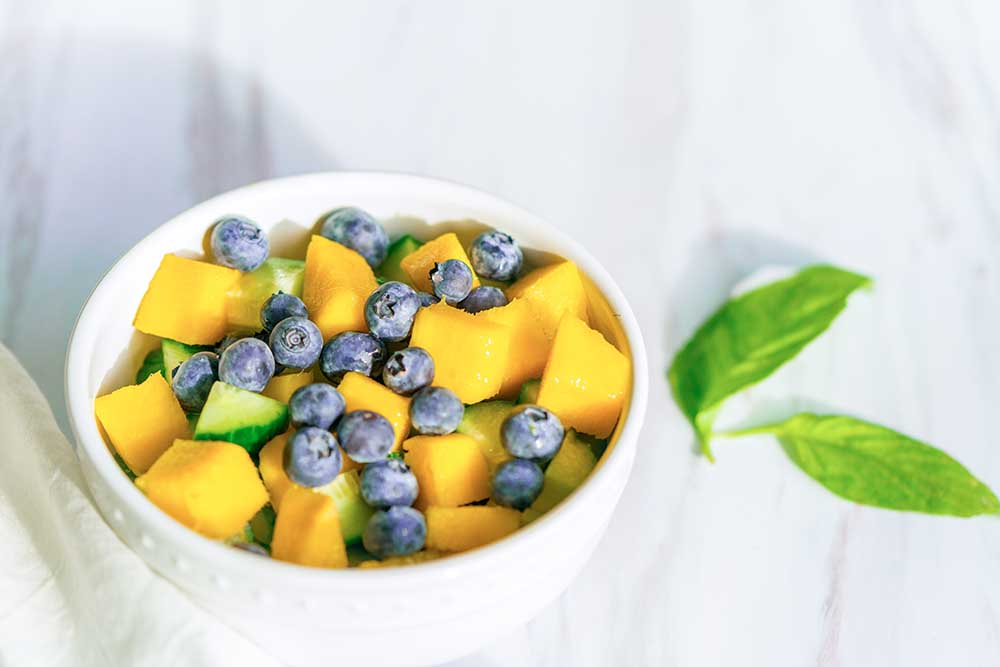 bowl of fruit for quinoa salad