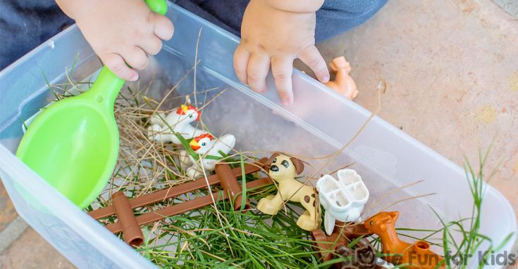 Farm Animal Sensory Table with Real Grass