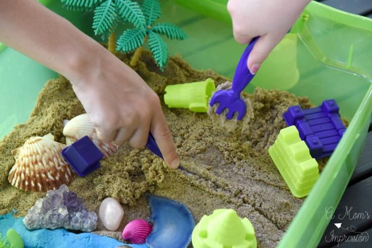 Themed Beach Sensory Table with Kinetic Sand