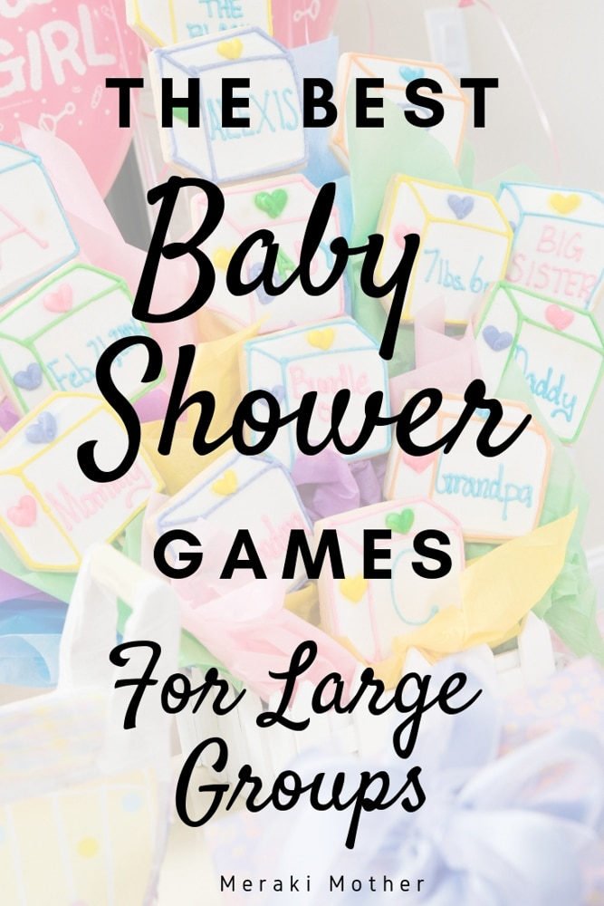 Need Baby shower games for large group? These games are super easy to set up and lots of fun for any baby shower. #pregnancy #babyshower #babyshowergames #babyshowerideas #babyshowergameideas #easybabyshowergames