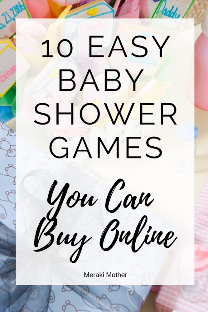 Need EASY baby shower games? Forget DIY baby shower games and order these premade baby shower games online. #pregnancy #babyshower #babyshowergames #babyshowerideas #babyshowergameideas #easybabyshowergames